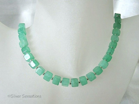 Brighter Emerald Green Aventurine Square Cubes & Sterling Silver Necklace